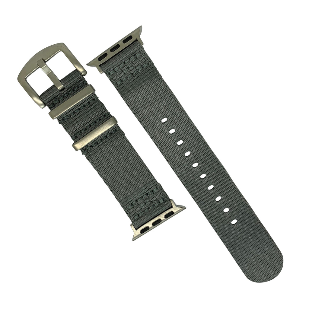 Apple Watch Seat Belt Nato Strap in Grey with Silver Buckle (42 & 44mm) - Nomad watch Works