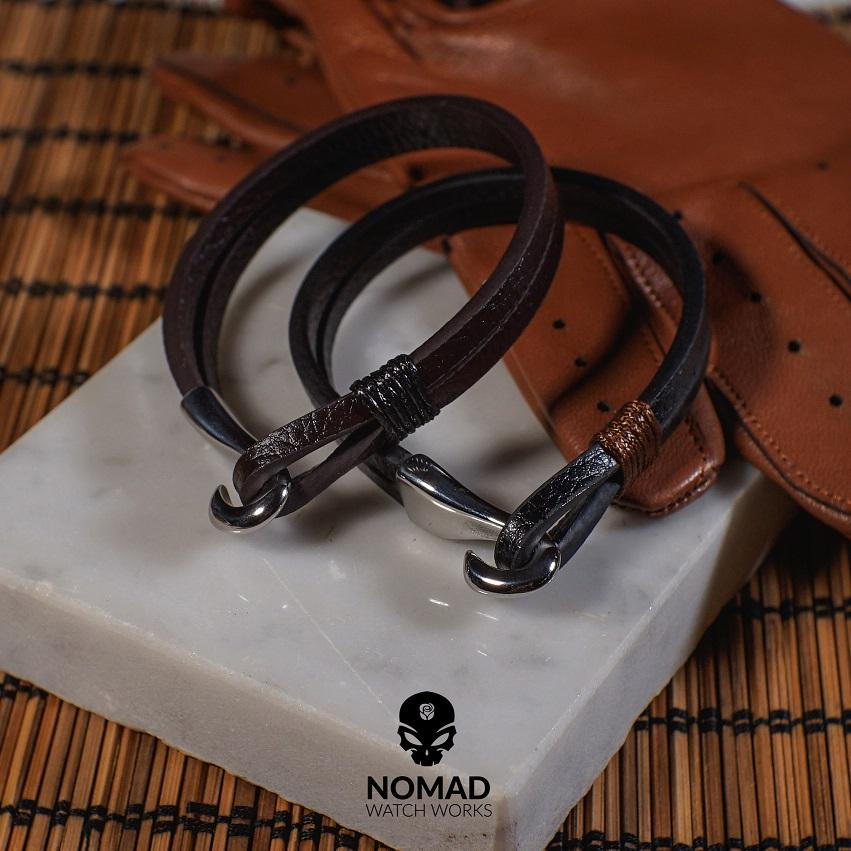 Lincoln Leather Bracelet in Brown (Size L)