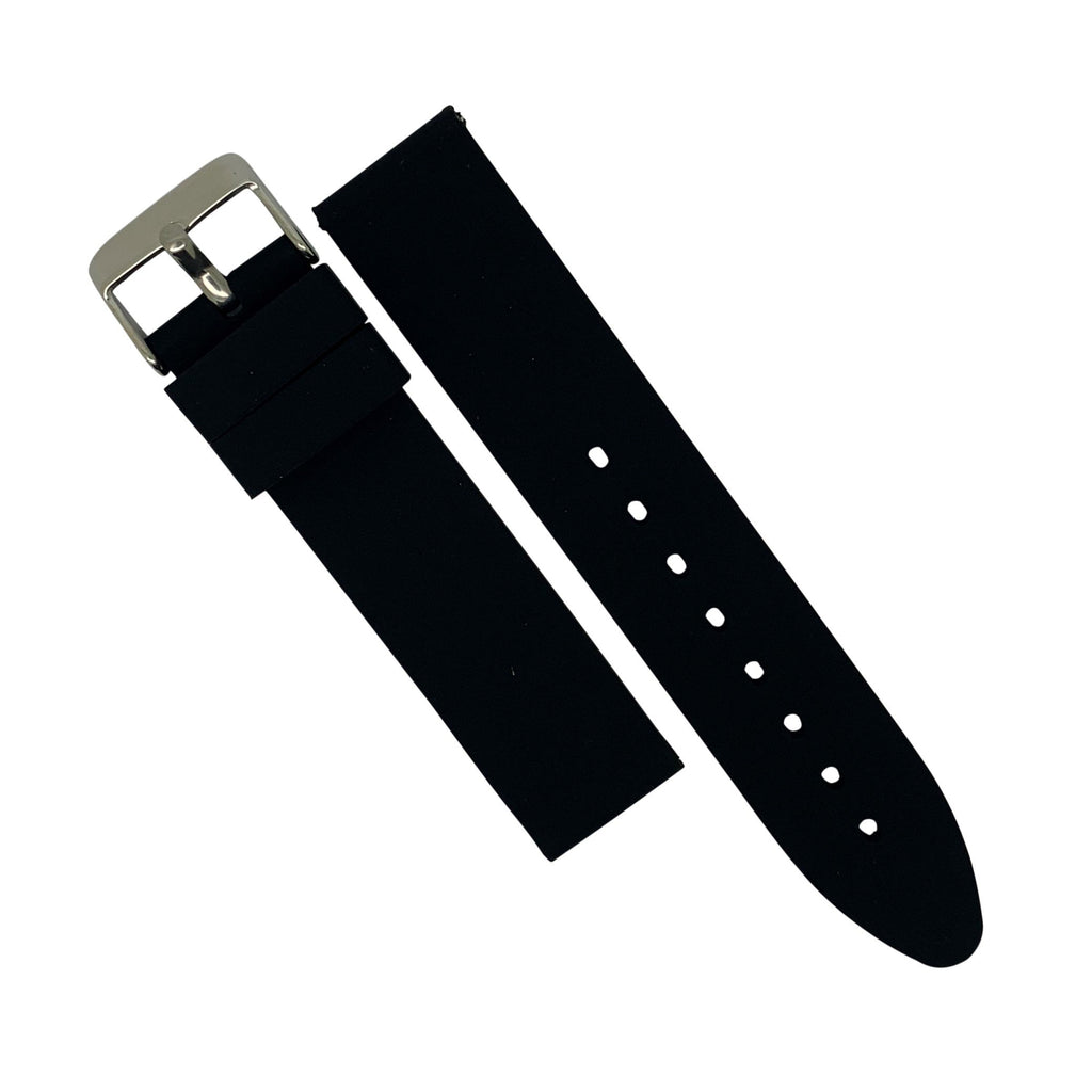 Basic Rubber Strap in Black with Silver Buckle (18mm)