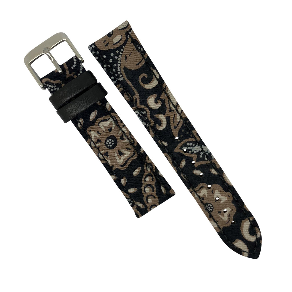 Batik Watch Strap in Sogan Black with Silver Buckle (18mm) - Nomad watch Works