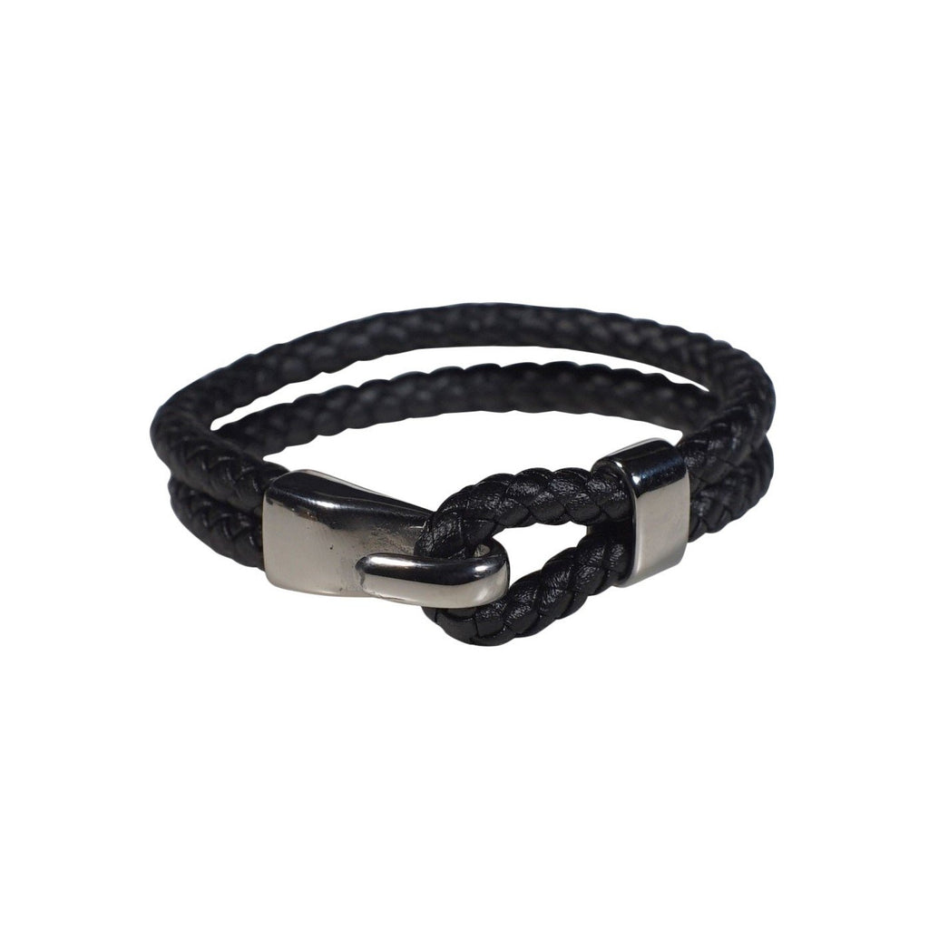 Oxford Leather Bracelet in Black (Size L)