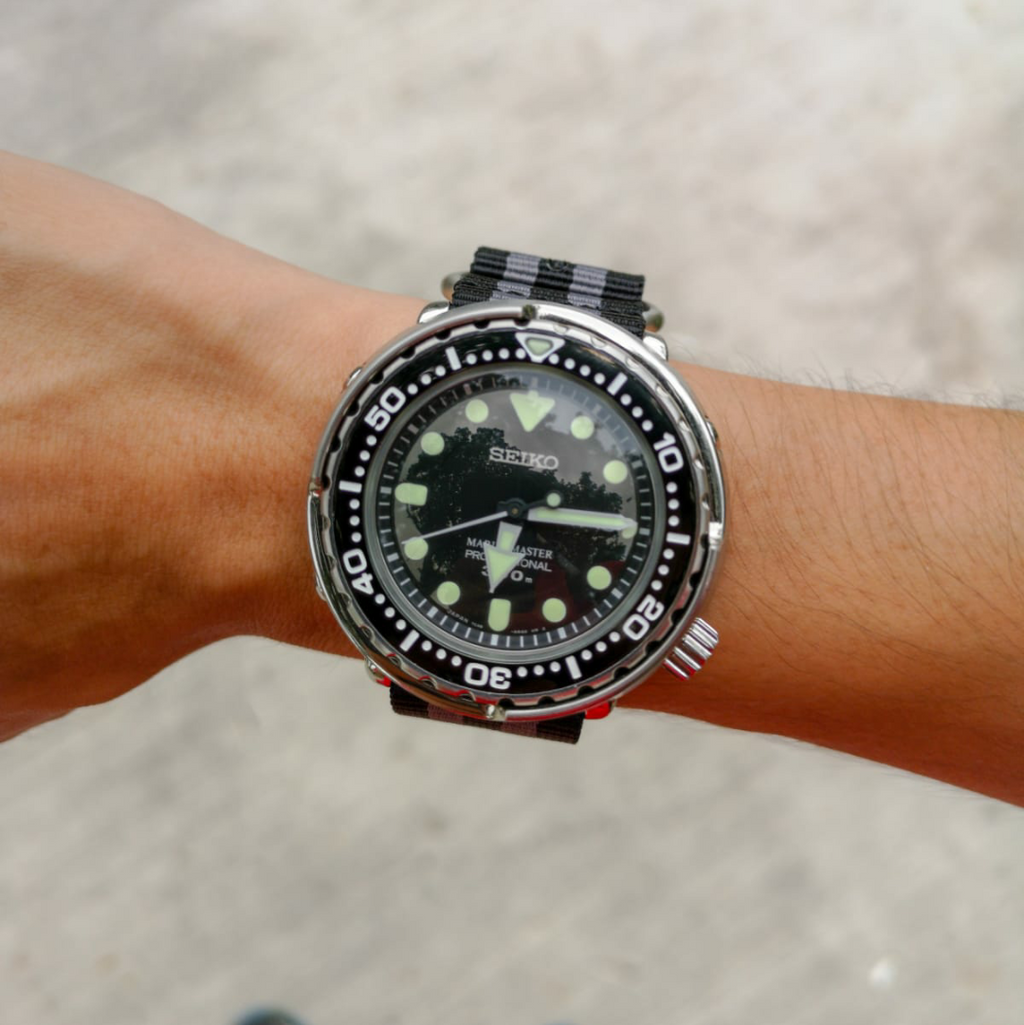Heavy Duty Zulu Strap in Black Grey (James Bond) with PVD Black Buckle (24mm)