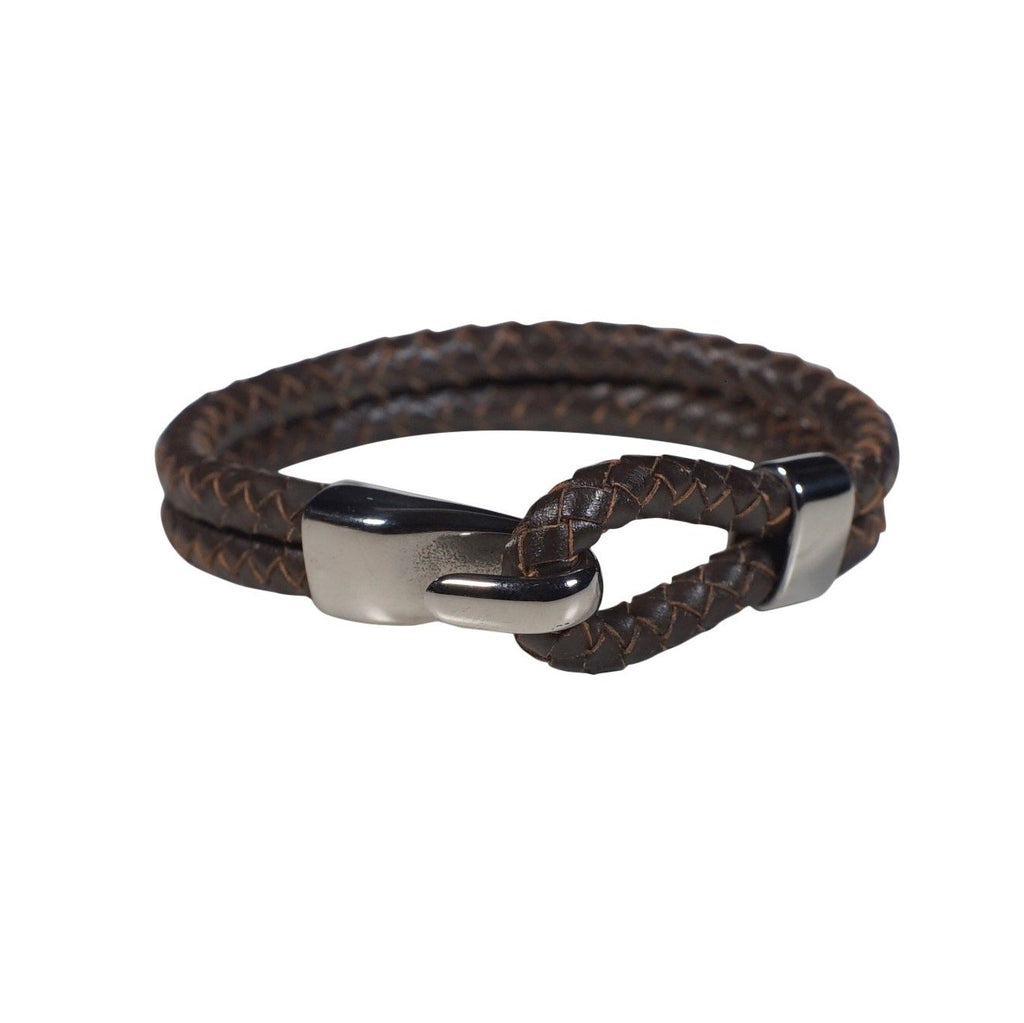 Oxford Leather Bracelet in Brown (Size L)