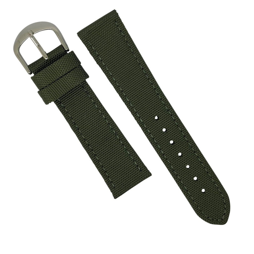 Canvas Watch Strap in Olive with Silver Buckle (20mm) - Nomad watch Works