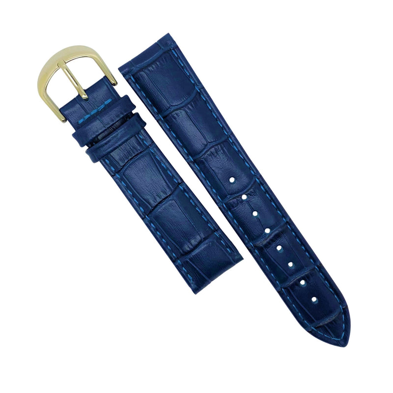 Genuine Croc Pattern Stitched Leather Watch Strap in Navy (14mm)