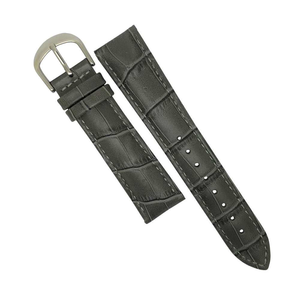 Genuine Croc Pattern Stitched Leather Watch Strap in Grey (14mm)