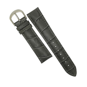 Genuine Croc Pattern Stitched Leather Watch Strap in Grey (16mm)