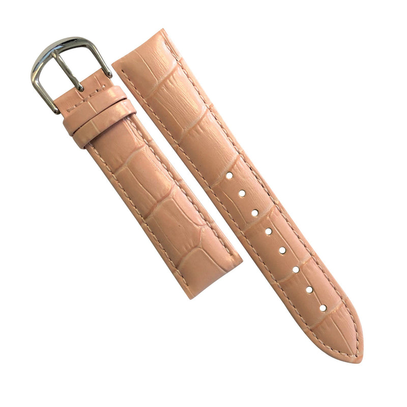 Genuine Croc Pattern Stitched Leather Watch Strap in Pink (14mm)