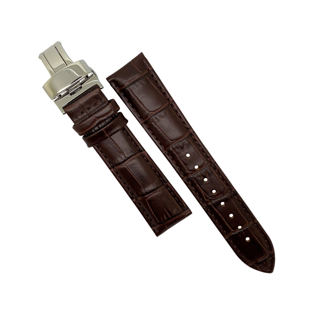 Genuine Croc Pattern Leather Watch Strap in Brown w/ Butterfly Clasp (20mm)