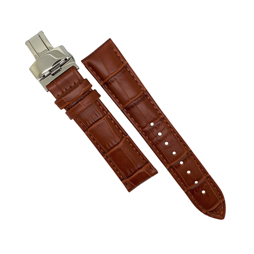 Genuine Croc Pattern Leather Watch Strap in Tan w/ Butterfly Clasp (20mm)