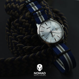 Premium Nato Strap in Navy White Grey (Crest) with PVD Black Buckle (22mm)