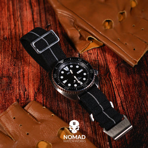 Marine Nationale Strap in Black Grey with Silver Buckle (20mm)