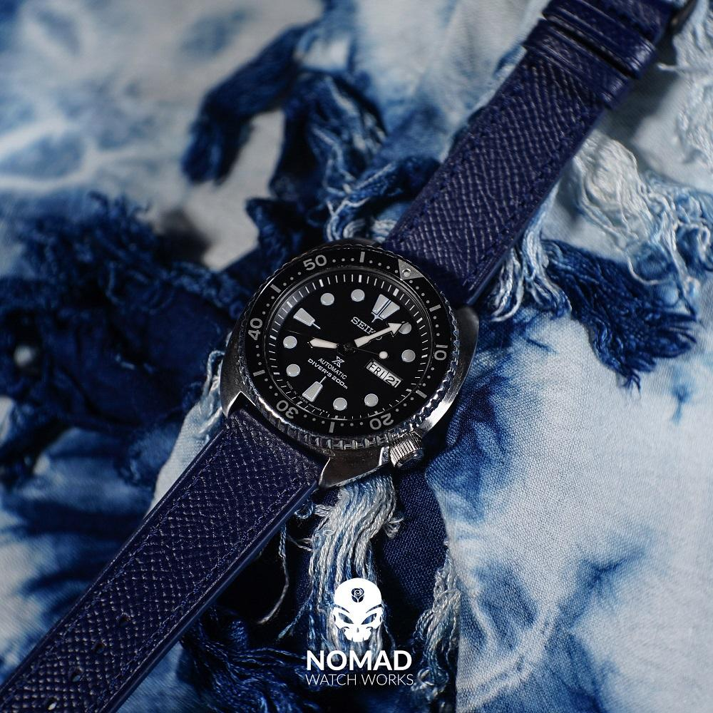 Emery Dress Epsom Leather Strap in Navy w/ Silver Buckle (22mm) - Nomad watch Works