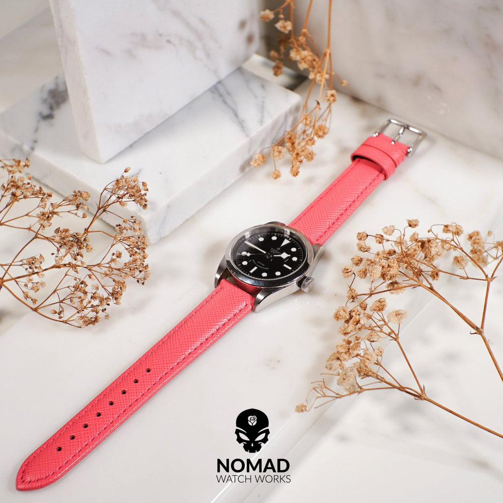 Premium Saffiano Leather Strap in Pink (18mm)