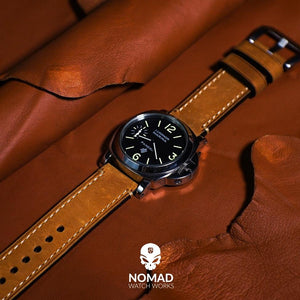 M1 Vintage Leather Watch Strap in Tan with Pre-V Silver Buckle (20mm) - Nomad watch Works
