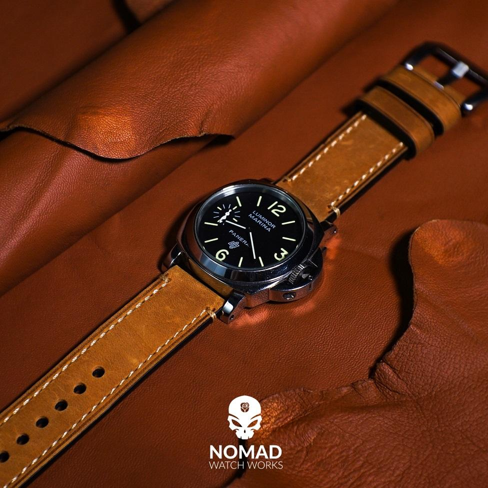 M1 Vintage Leather Watch Strap in Tan with Pre-V Silver Buckle (26mm) - Nomad watch Works