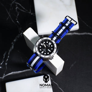 Premium Nato Strap in Blue Black White with PVD Black Buckle (22mm)