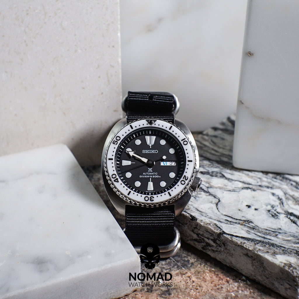 Heavy Duty Zulu Strap in Black with Silver Buckle (24mm) - Nomad watch Works