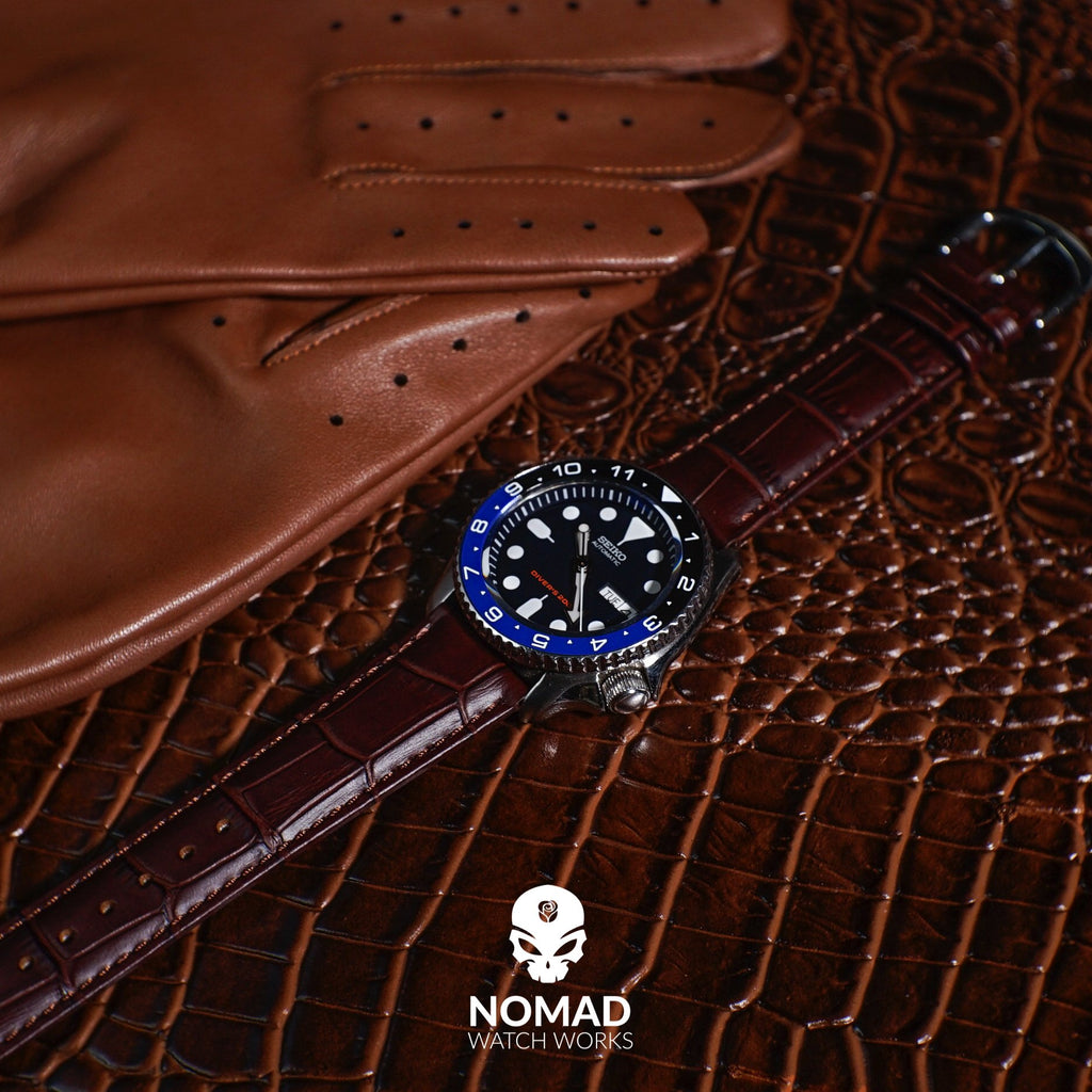 Genuine Croc Pattern Stitched Leather Watch Strap in Brown (16mm) - Nomad watch Works