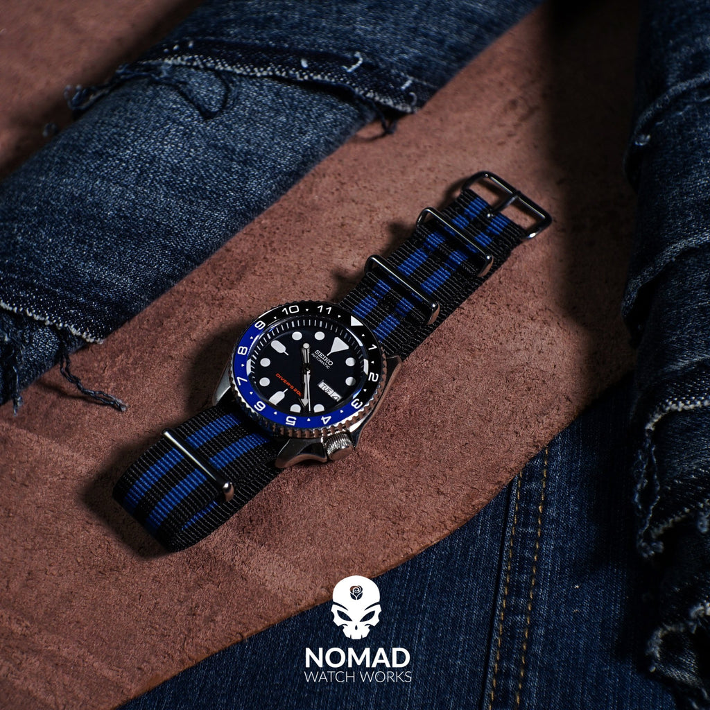 Premium Nato Strap in Black Blue Small Stripes with Polished Silver Buckle (22mm)