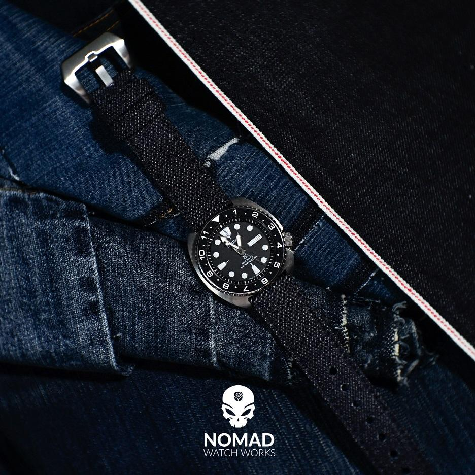Japanese Dry Denim Strap in Indigo with Silver Buckle (24mm) - Nomad watch Works
