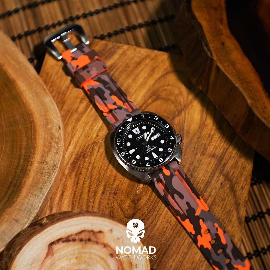 V3 Silicone Strap in Orange Camo (22mm)