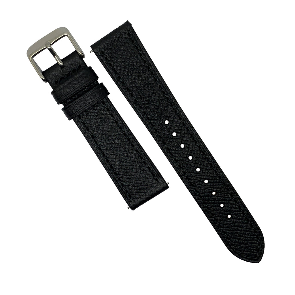 Emery Dress Epsom Leather Strap in Black w/ Silver Buckle (20mm) - Nomad watch Works