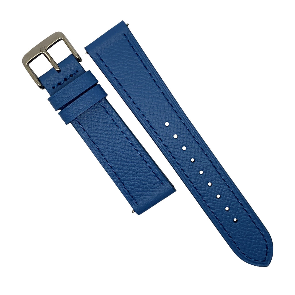 Emery Dress Epsom Leather Strap in Blue w/ Silver Buckle (22mm) - Nomad watch Works