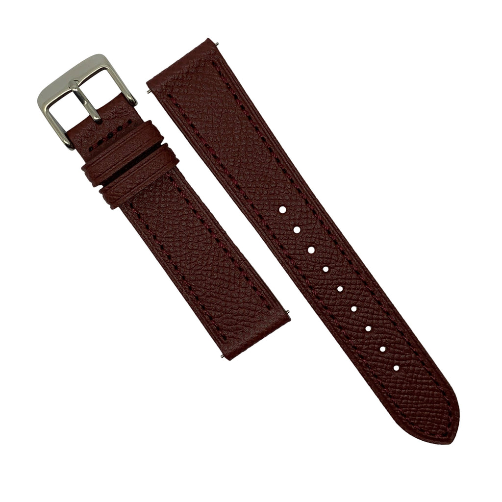 Emery Dress Epsom Leather Strap in Burgundy w/ Silver Buckle (20mm) - Nomad watch Works