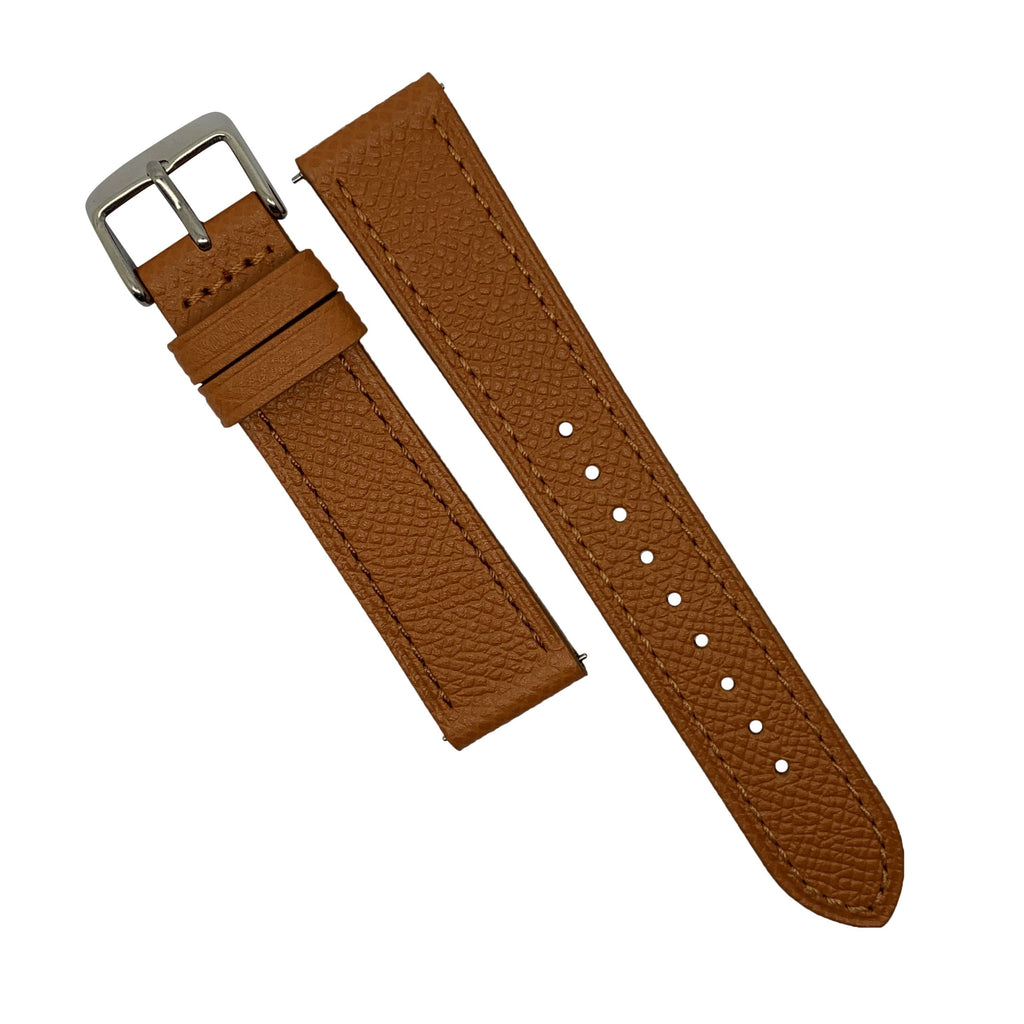 Emery Dress Epsom Leather Strap in Tan w/ Silver Buckle (22mm) - Nomad watch Works