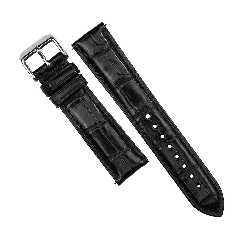 Exotic Crocodile Leather Watch Strap in Black Square Scale (18mm)