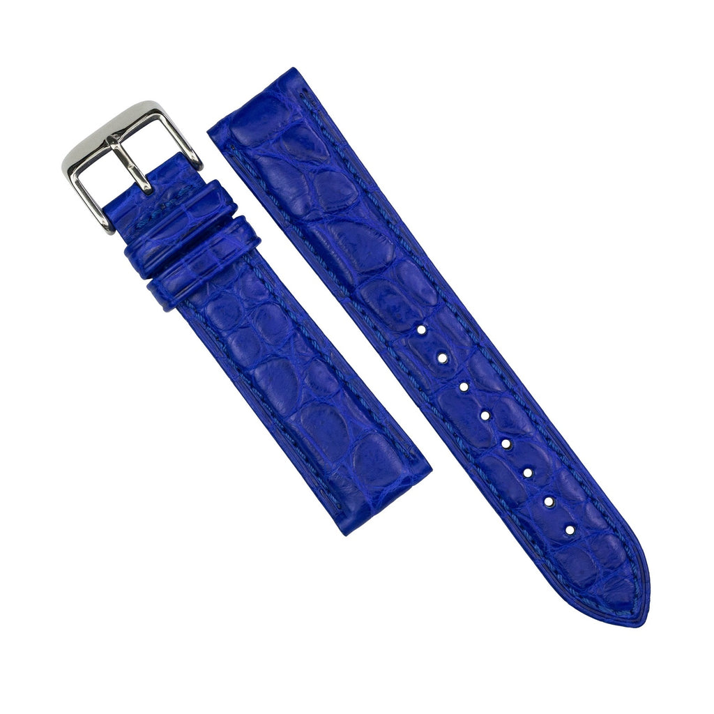Exotic Crocodile Leather Watch Strap in Blue Round Scale (22mm)