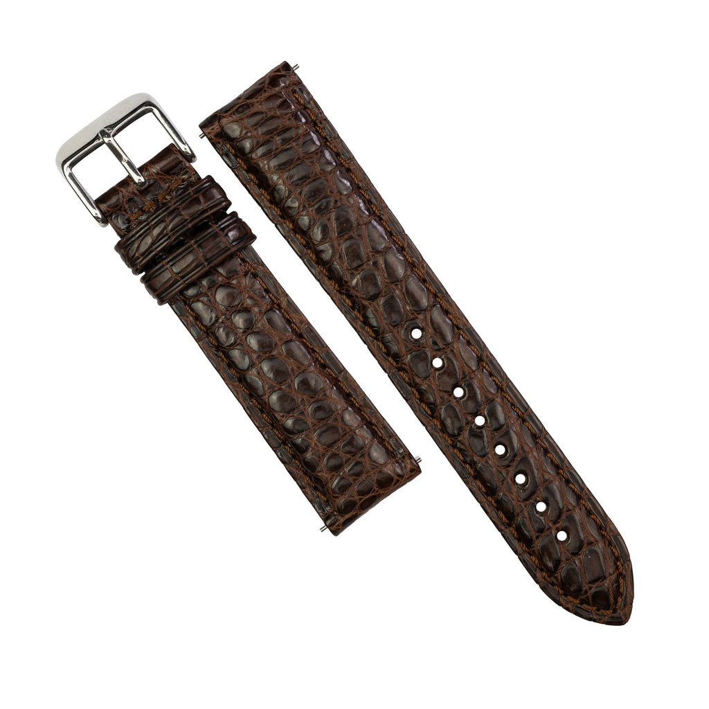 Exotic Crocodile Leather Watch Strap in Brown Round Scale (22mm)