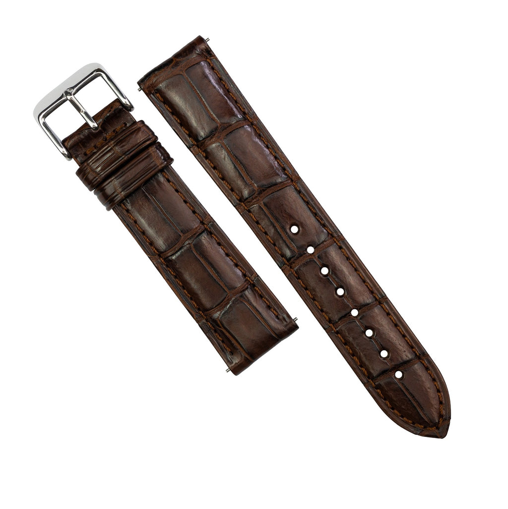 Exotic Crocodile Leather Watch Strap in Brown Square Scale (18mm)