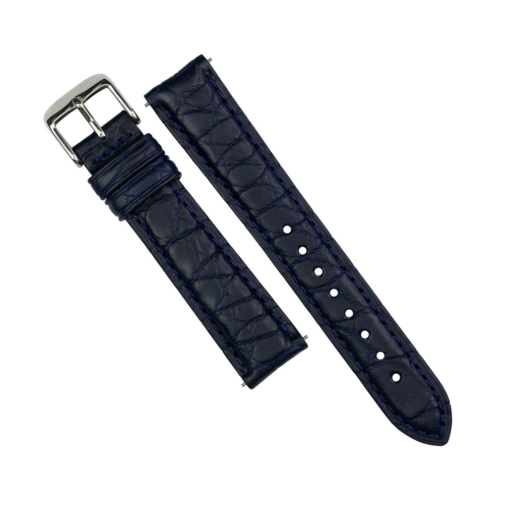 Exotic Crocodile Leather Watch Strap in Navy Round Scale (22mm)