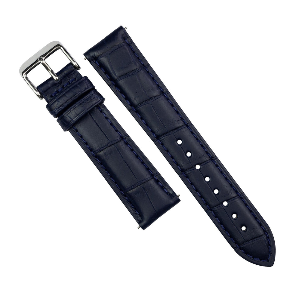 Exotic Crocodile Leather Watch Strap in Navy Square Scale (20mm)