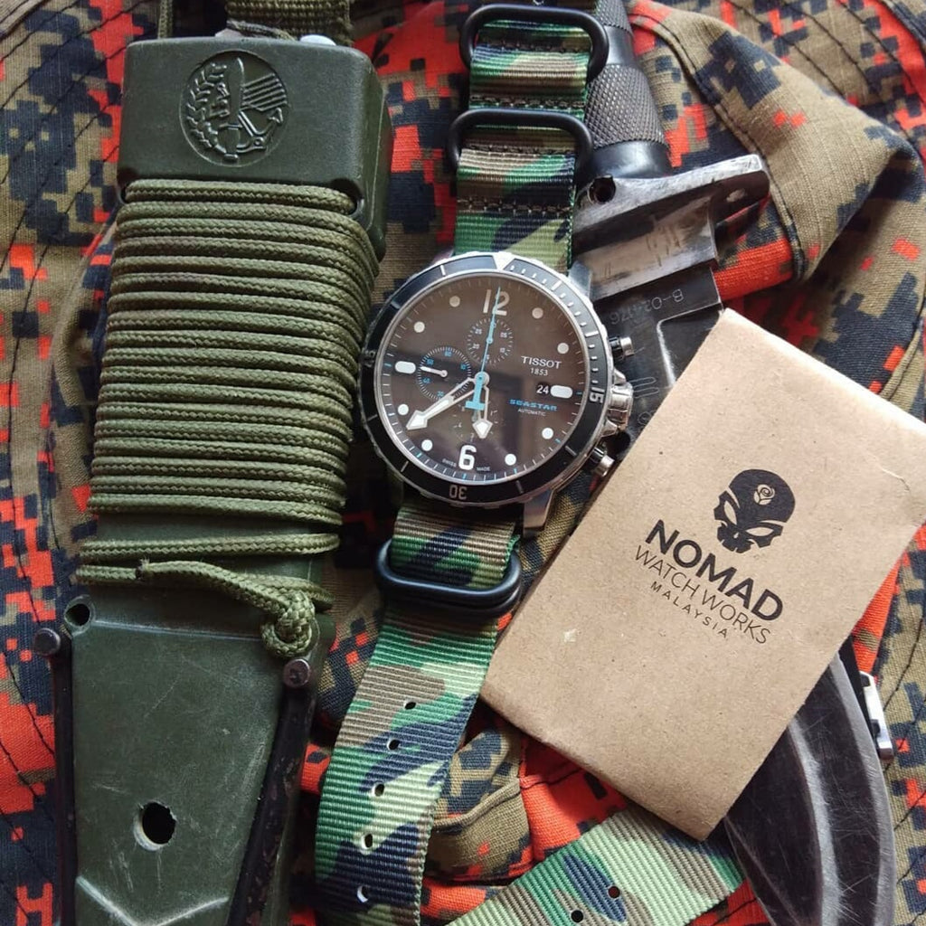 Heavy Duty Zulu Strap in Green Camo with Silver Buckle (24mm)