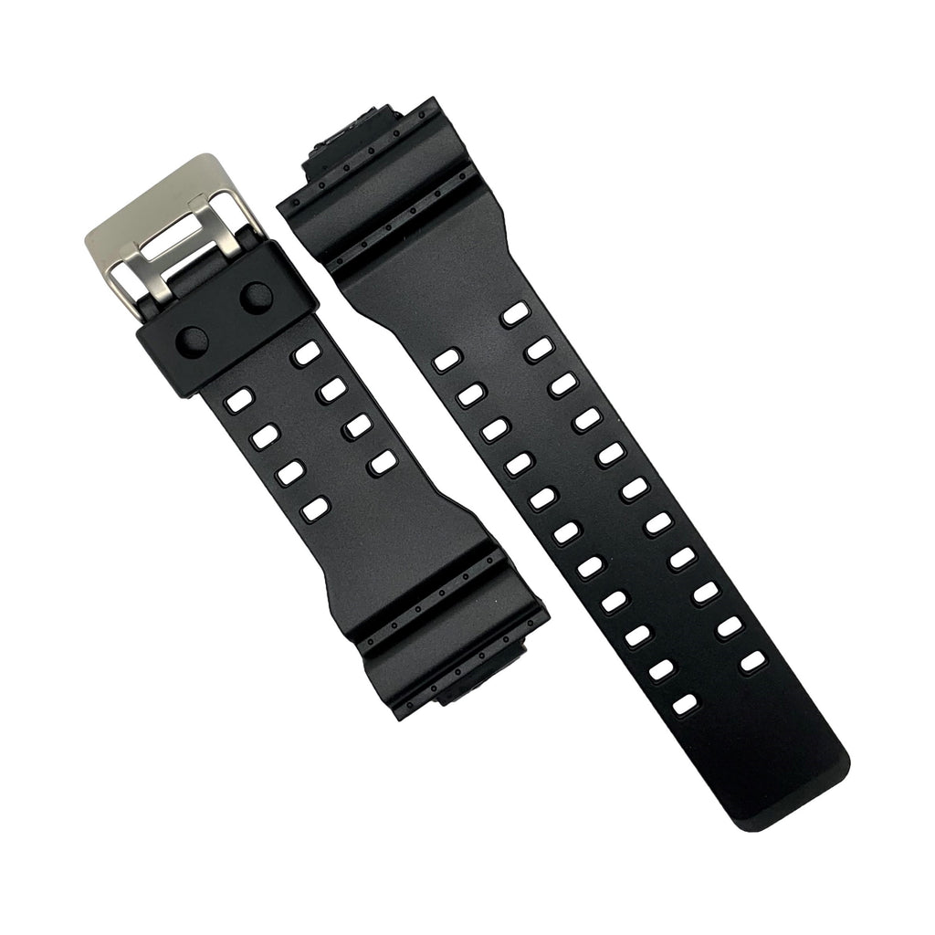 G-Shock Rubber Strap in Black with Silver Buckle