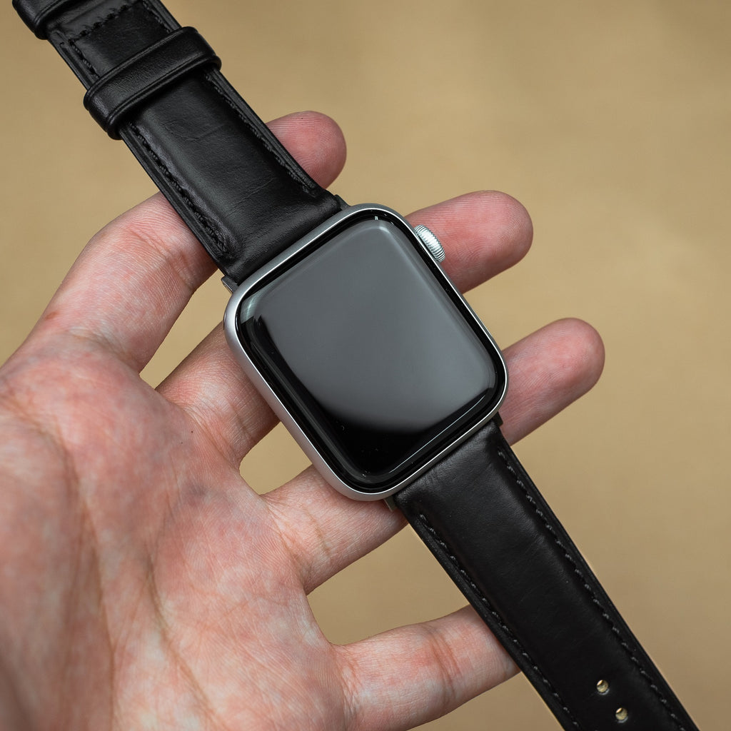 N2W Classic Horween Leather Strap in Chromexcel® Black (42 & 44mm)