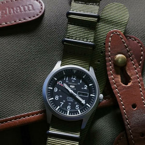 Premium Nato Strap in Olive with PVD Black Buckle (18mm)