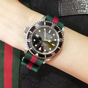 Premium Nato Strap in Green Red with Polished Silver Buckle (20mm)