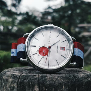 Premium Nato Strap in Navy White Red with Polished Silver Buckle (18mm)