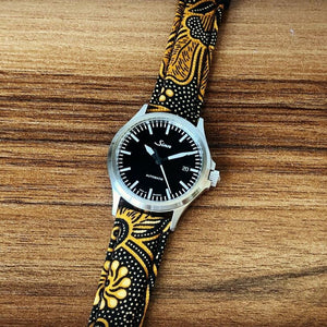 Batik Watch Strap in Sogan Brown with Silver Buckle (20mm)