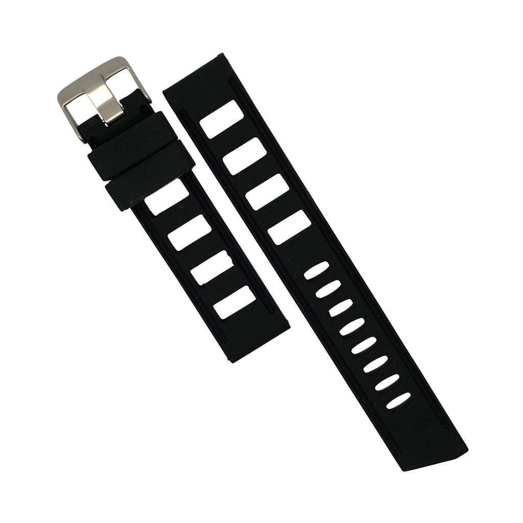 Iso Rubber Strap in Black with Silver Buckle (20mm) - Nomad watch Works