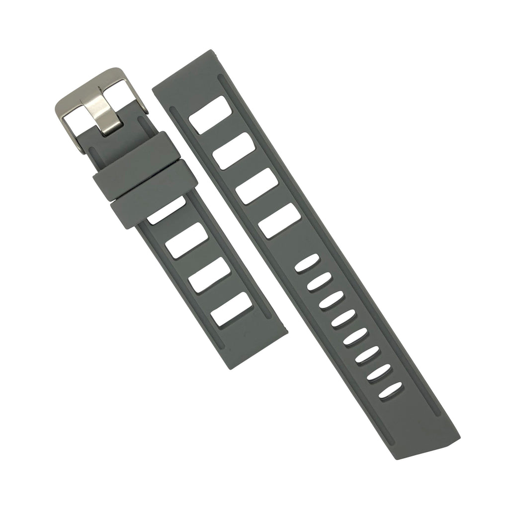 Iso Rubber Strap in Grey with Silver Buckle (20mm) - Nomad watch Works