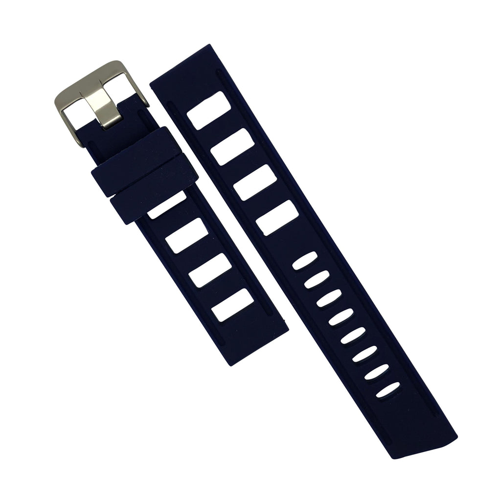 Iso Rubber Strap in Navy with Silver Buckle (20mm) - Nomad watch Works
