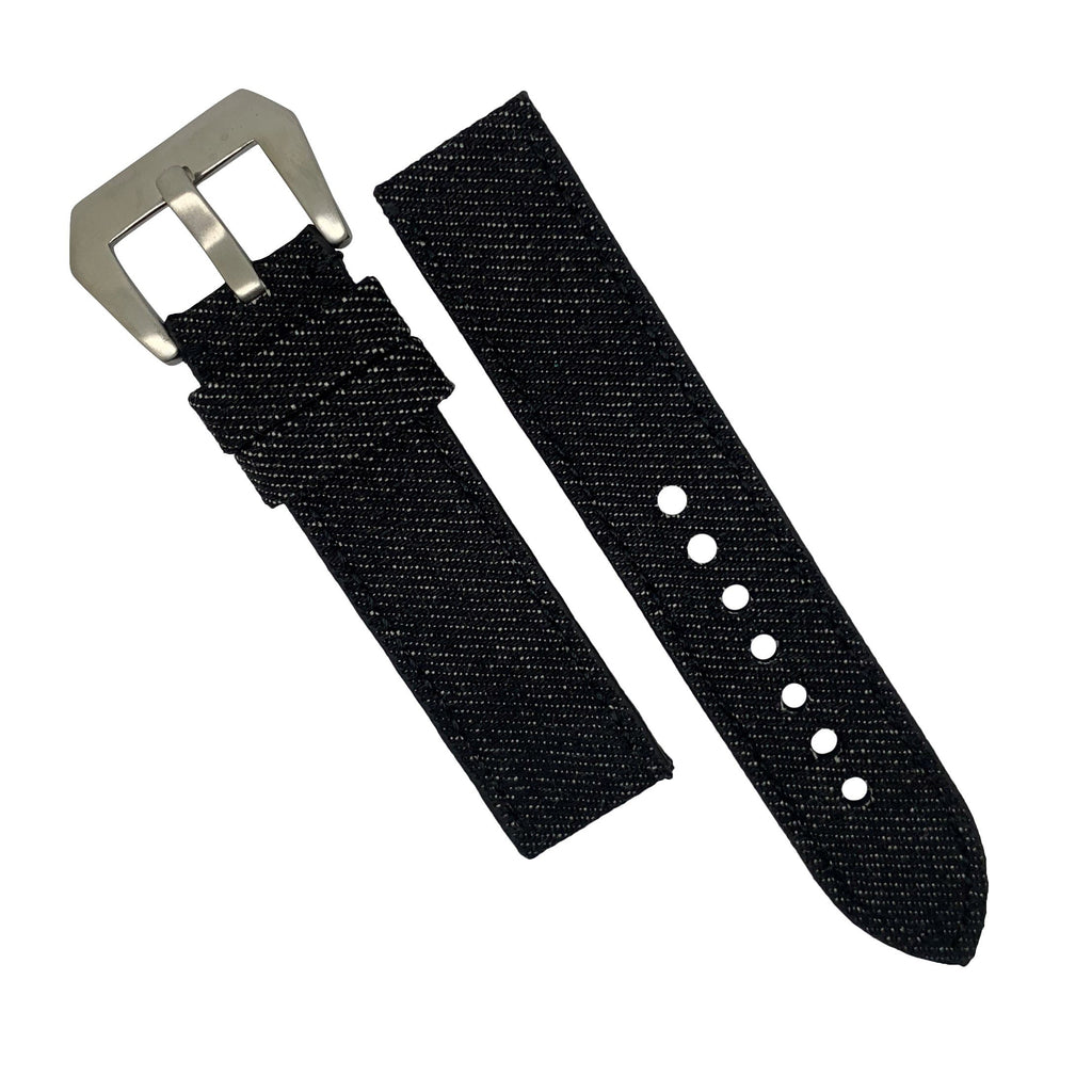 Japanese Dry Denim Strap in Black with Silver Buckle (24mm) - Nomad watch Works