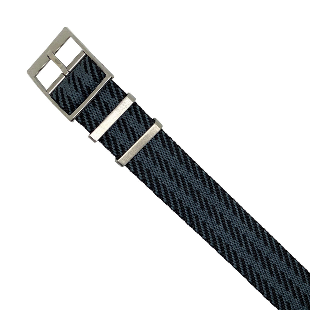 Lux Single Pass Strap in Black Grey with Silver Buckle (22mm)