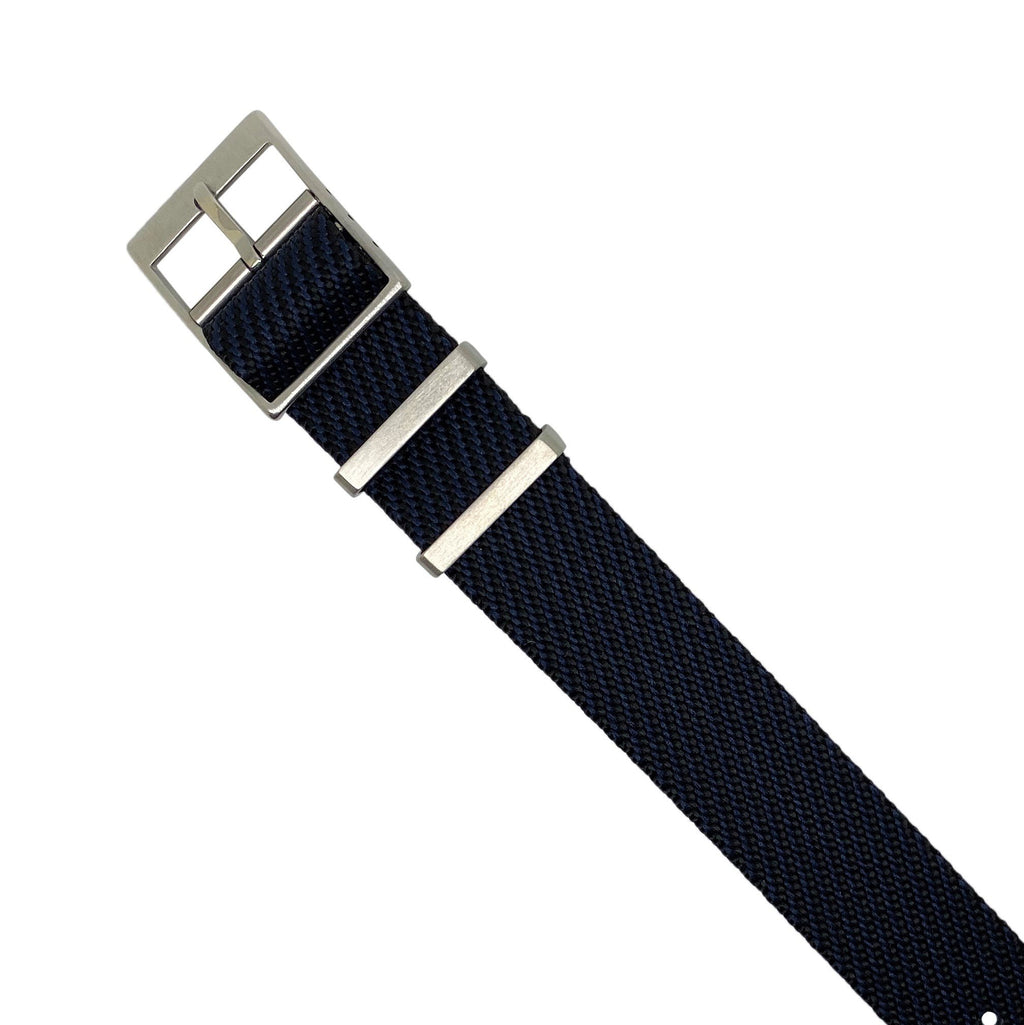 Lux Single Pass Strap in Navy with Silver Buckle (20mm)