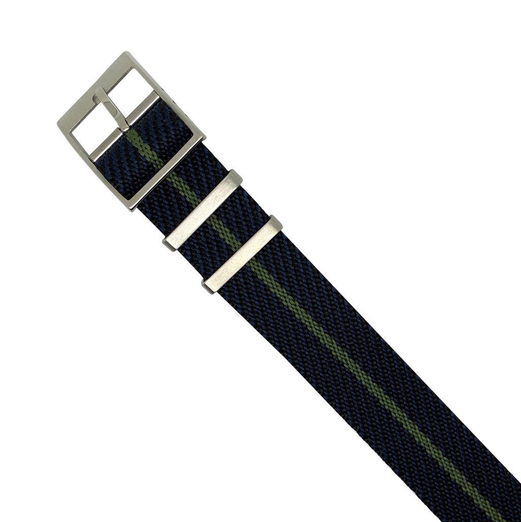 Lux Single Pass Strap in Navy Green with Silver Buckle (22mm)